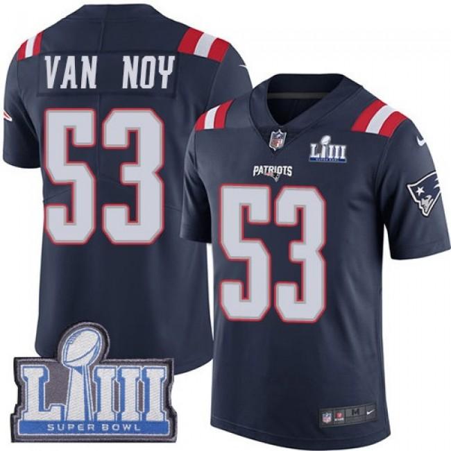 Nike Patriots #53 Kyle Van Noy Navy Blue Super Bowl LIII Bound Men's Stitched NFL Limited Rush Jersey