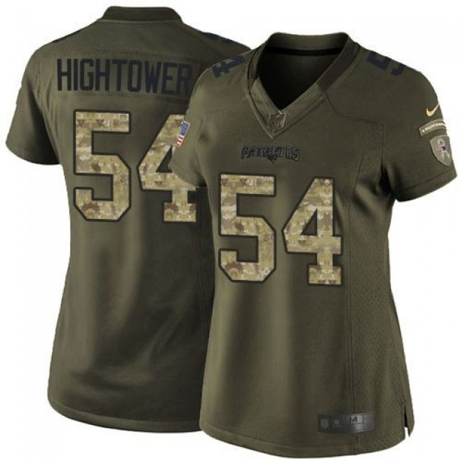 Women's Patriots #54 Dont'a Hightower Green Stitched NFL Limited Salute to Service Jersey