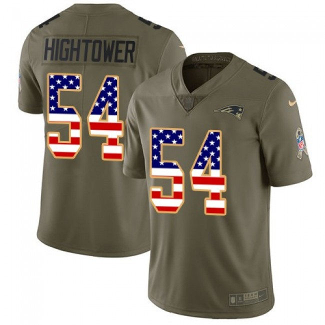 New England Patriots #54 Dont a Hightower Olive-USA Flag Youth Stitched NFL Limited 2017 Salute to Service Jersey