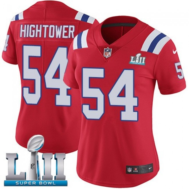 Women's Patriots #54 Dont'a Hightower Red Alternate Super Bowl LII Stitched NFL Vapor Untouchable Limited Jersey