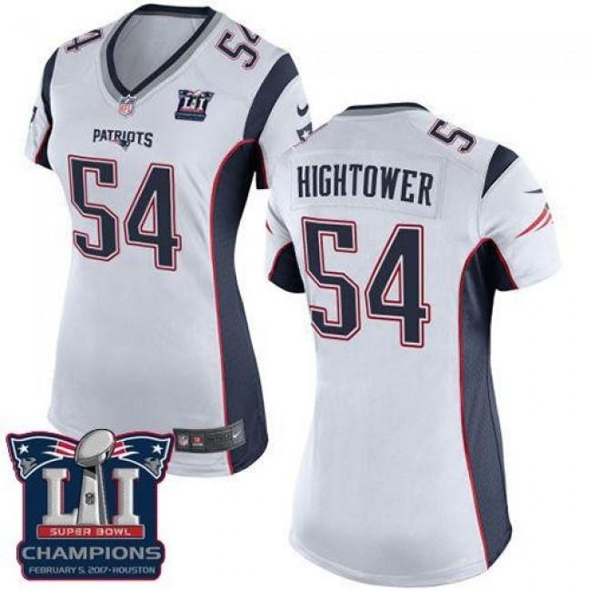 Women's Patriots #54 Dont'a Hightower White Super Bowl LI Champions Stitched NFL New Elite Jersey