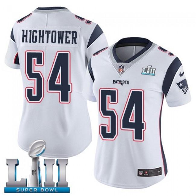 Women's Patriots #54 Dont'a Hightower White Super Bowl LII Stitched NFL Vapor Untouchable Limited Jersey