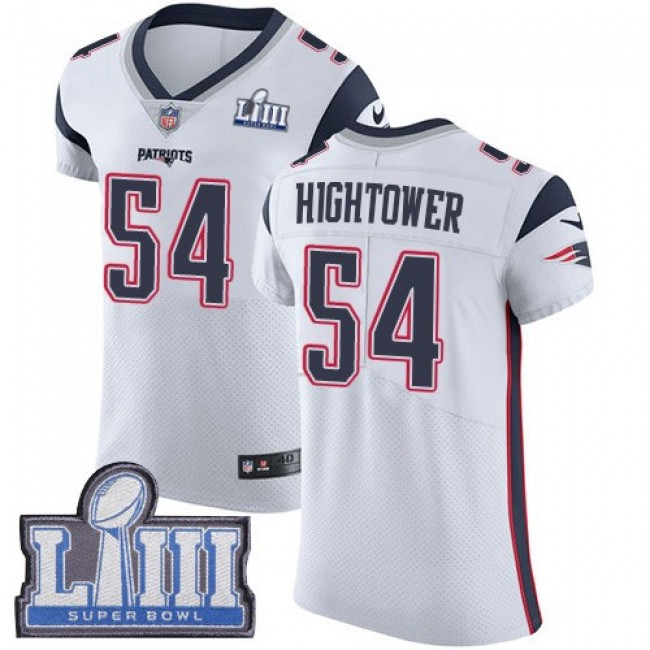 Nike Patriots #54 Dont'a Hightower White Super Bowl LIII Bound Men's Stitched NFL Vapor Untouchable Elite Jersey