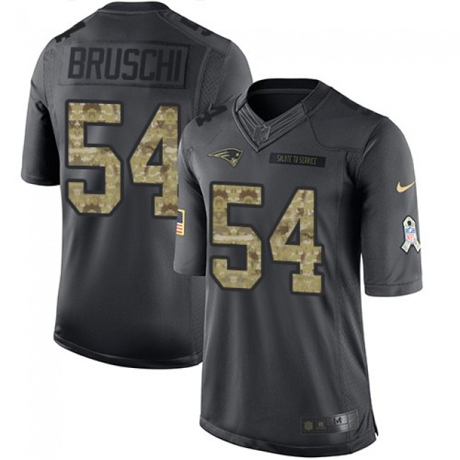 Nike Patriots #54 Tedy Bruschi Black Men's Stitched NFL Limited 2016 Salute To Service Jersey