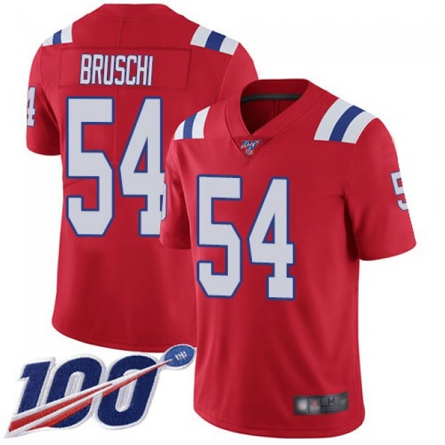 Nike Patriots #54 Tedy Bruschi Red Alternate Men's Stitched NFL 100th Season Vapor Limited Jersey