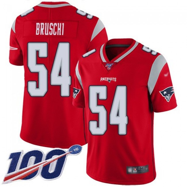 Nike Patriots #54 Tedy Bruschi Red Men's Stitched NFL Limited Inverted Legend 100th Season Jersey