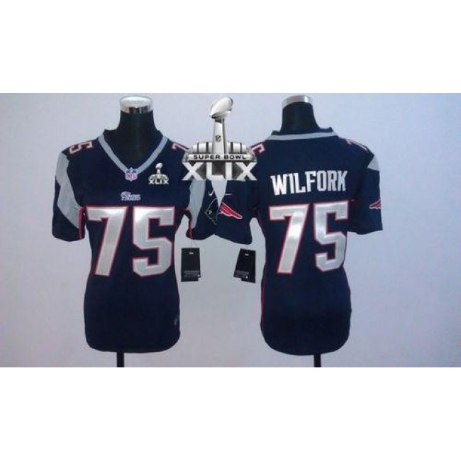 Women's Patriots #75 Vince Wilfork Navy Blue Team Color Super Bowl XLIX Stitched NFL Elite Jersey