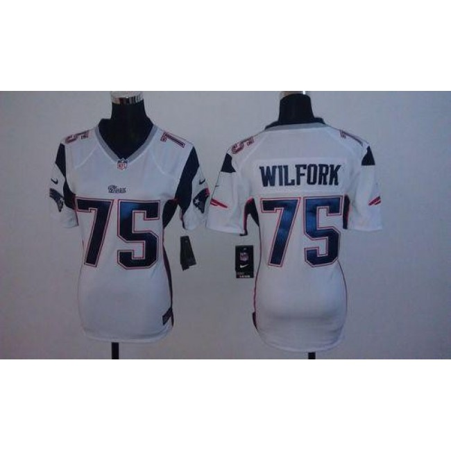 Women's Patriots #75 Vince Wilfork White Stitched NFL Elite Jersey