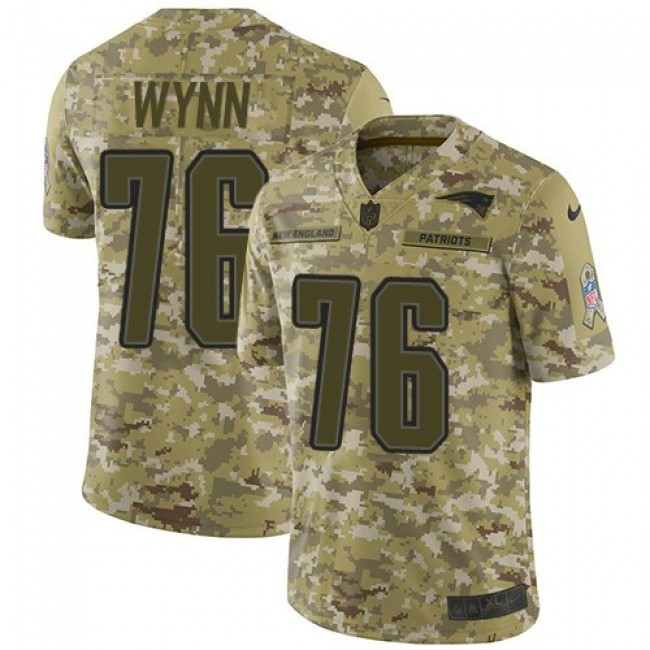 Nike Patriots #76 Isaiah Wynn Camo Men's Stitched NFL Limited 2018 Salute To Service Jersey