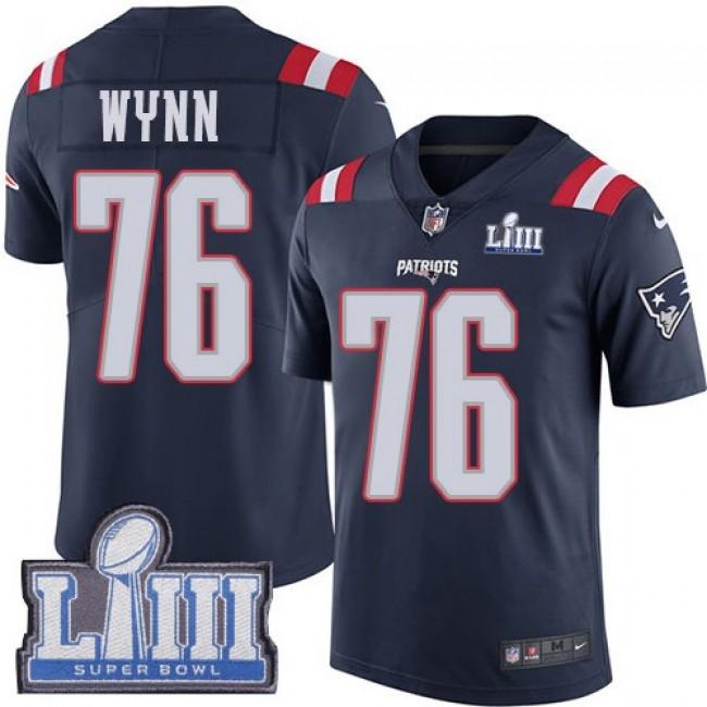 Nike Patriots #76 Isaiah Wynn Navy Blue Super Bowl LIII Bound Men's Stitched NFL Limited Rush Jersey