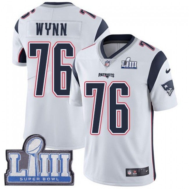 Nike Patriots #76 Isaiah Wynn White Super Bowl LIII Bound Men's Stitched NFL Vapor Untouchable Limited Jersey