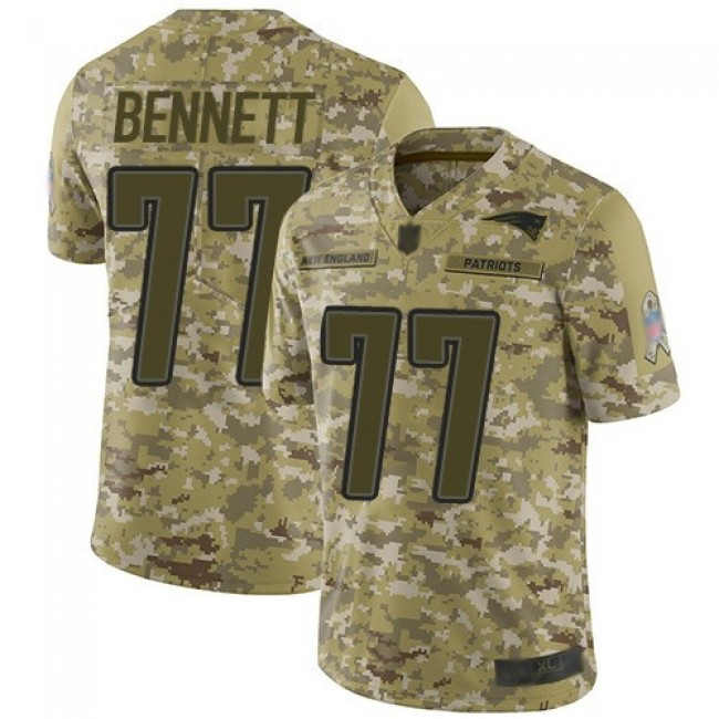 Nike Patriots #77 Michael Bennett Camo Men's Stitched NFL Limited 2018 Salute To Service Jersey