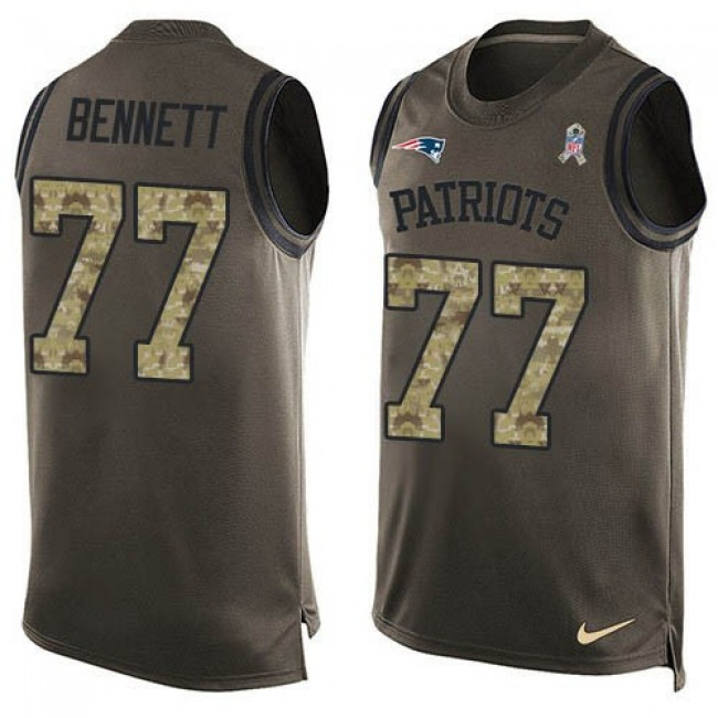 Nike Patriots #77 Michael Bennett Green Men's Stitched NFL Limited Salute To Service Tank Top Jersey