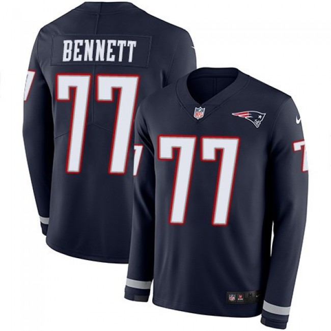 Nike Patriots #77 Michael Bennett Navy Blue Team Color Men's Stitched NFL Limited Therma Long Sleeve Jersey