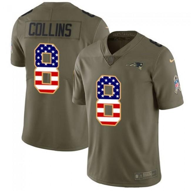 Nike Patriots #8 Jamie Collins Sr Olive/USA Flag Men's Stitched NFL Limited 2017 Salute To Service Jersey