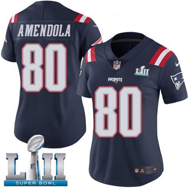 Women's Patriots #80 Danny Amendola Navy Blue Super Bowl LII Stitched NFL Limited Rush Jersey