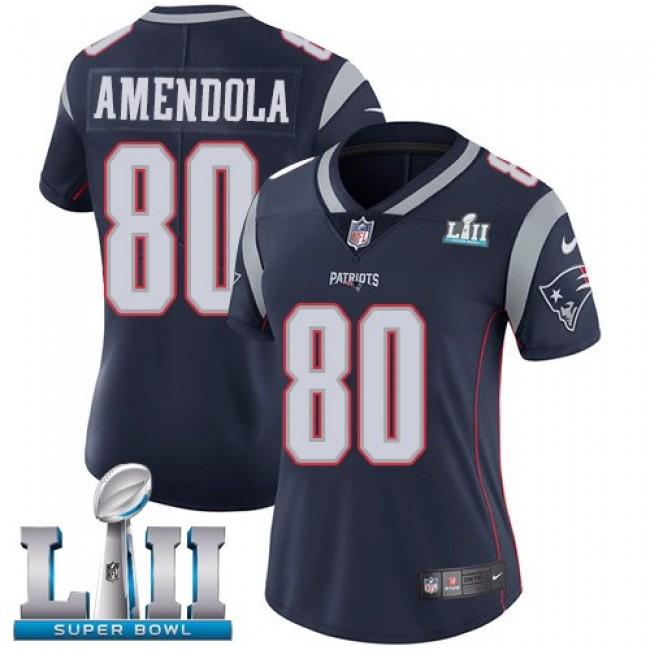 Women's Patriots #80 Danny Amendola Navy Blue Team Color Super Bowl LII Stitched NFL Vapor Untouchable Limited Jersey