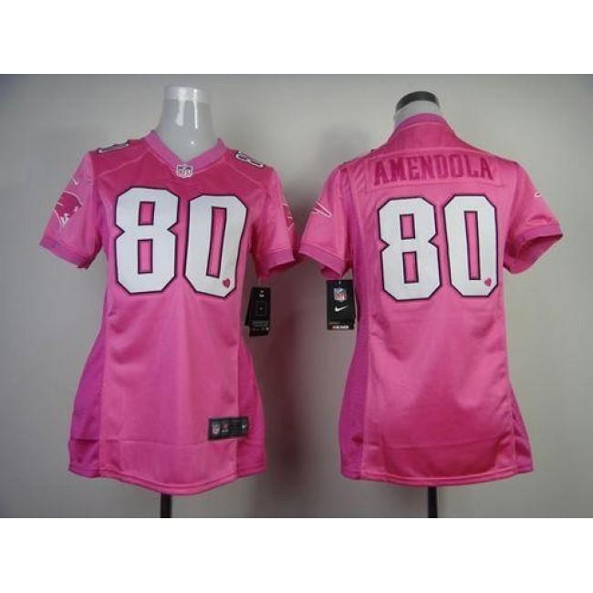 Women's Patriots #80 Danny Amendola New Pink Be Luv'd Stitched NFL Elite Jersey