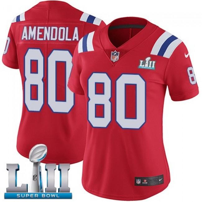Women's Patriots #80 Danny Amendola Red Alternate Super Bowl LII Stitched NFL Vapor Untouchable Limited Jersey