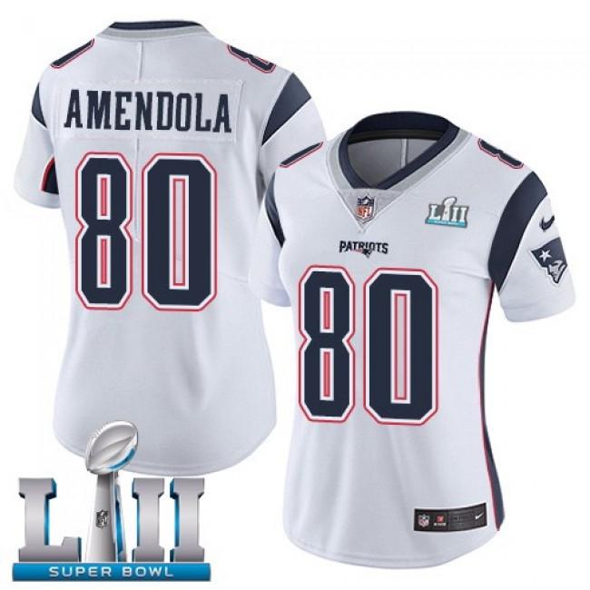 Women's Patriots #80 Danny Amendola White Super Bowl LII Stitched NFL Vapor Untouchable Limited Jersey