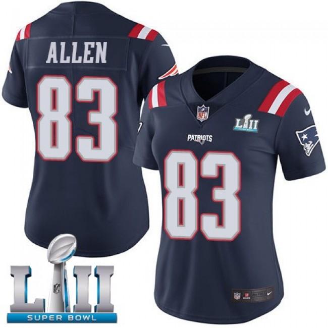 Women's Patriots #83 Dwayne Allen Navy Blue Super Bowl LII Stitched NFL Limited Rush Jersey
