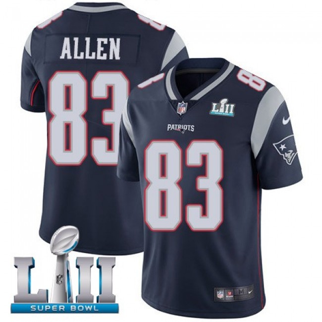 New England Patriots #83 Dwayne Allen Navy Blue Team Color Super Bowl LII Youth Stitched NFL Vapor Untouchable Limited Jersey