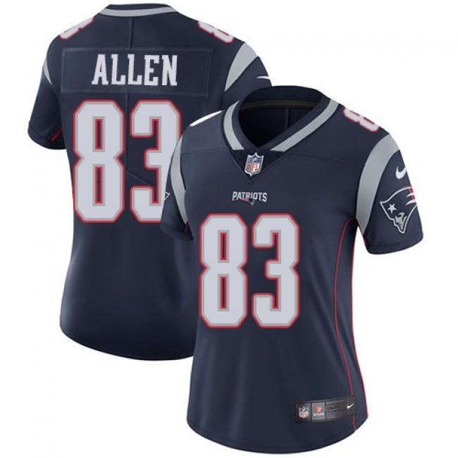 Women's Patriots #83 Dwayne Allen Navy Blue Team Color Stitched NFL Vapor Untouchable Limited Jersey