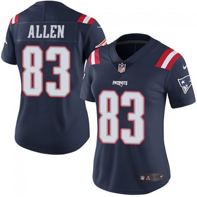 Women's Patriots #83 Dwayne Allen Navy Blue Stitched NFL Limited Rush Jersey