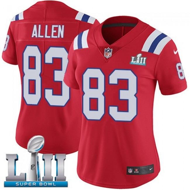 Women's Patriots #83 Dwayne Allen Red Alternate Super Bowl LII Stitched NFL Vapor Untouchable Limited Jersey
