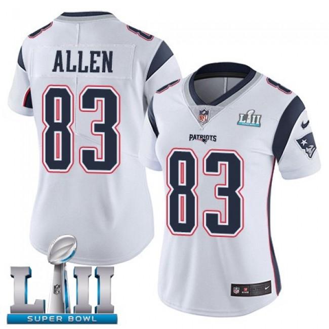 Women's Patriots #83 Dwayne Allen White Super Bowl LII Stitched NFL Vapor Untouchable Limited Jersey