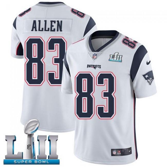 New England Patriots #83 Dwayne Allen White Super Bowl LII Youth Stitched NFL Vapor Untouchable Limited Jersey