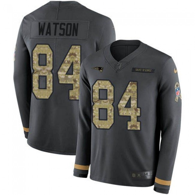 Nike Patriots #84 Benjamin Watson Anthracite Salute to Service Men's Stitched NFL Limited Therma Long Sleeve Jersey