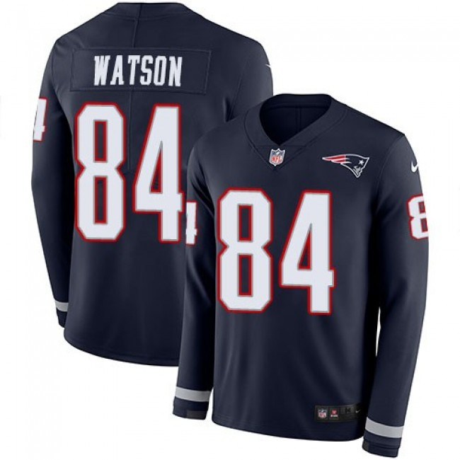 Nike Patriots #84 Benjamin Watson Navy Blue Team Color Men's Stitched NFL Limited Therma Long Sleeve Jersey