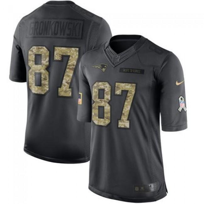 Nike Patriots #87 Rob Gronkowski Black Men's Stitched NFL Limited 2016 Salute To Service Jersey
