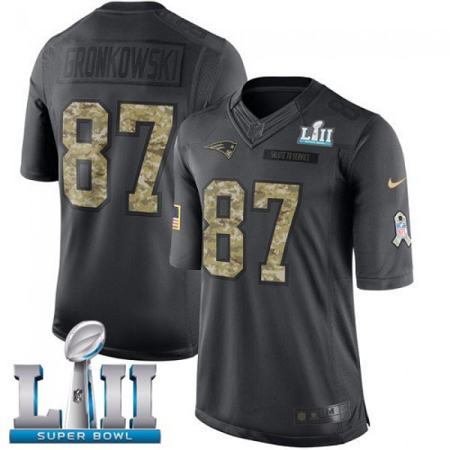 New England Patriots #87 Rob Gronkowski Black Super Bowl LII Youth Stitched NFL Limited 2016 Salute to Service Jersey
