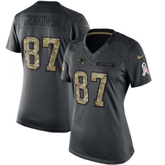 Women's Patriots #87 Rob Gronkowski Black Stitched NFL Limited 2016 Salute to Service Jersey