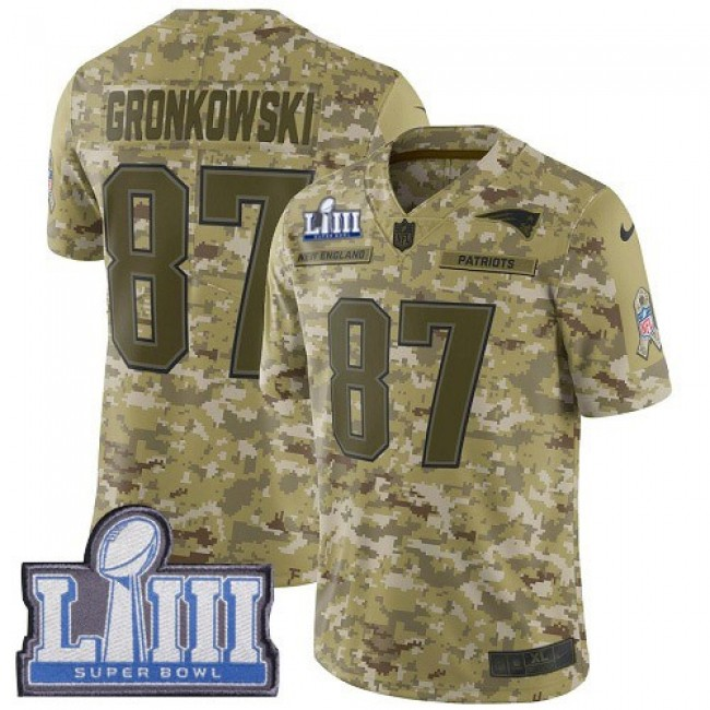 Nike Patriots #87 Rob Gronkowski Camo Super Bowl LIII Bound Men's Stitched NFL Limited 2018 Salute To Service Jersey