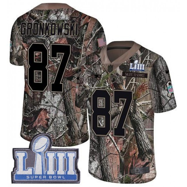Nike Patriots #87 Rob Gronkowski Camo Super Bowl LIII Bound Men's Stitched NFL Limited Rush Realtree Jersey