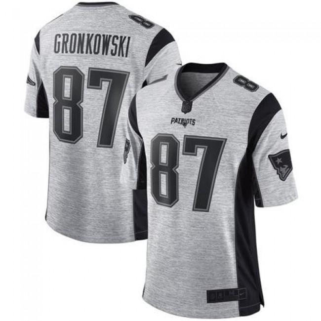 Nike Patriots #87 Rob Gronkowski Gray Men's Stitched NFL Limited Gridiron Gray II Jersey
