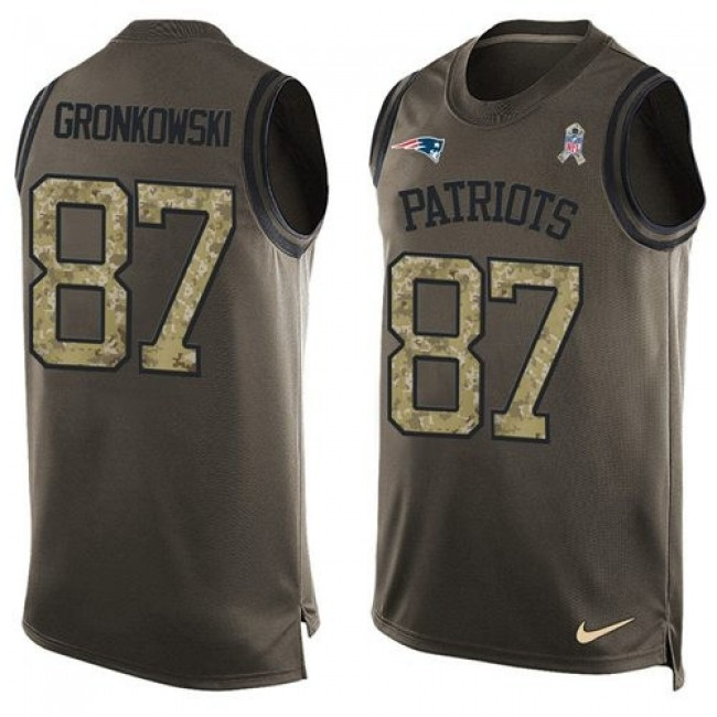 Nike Patriots #87 Rob Gronkowski Green Men's Stitched NFL Limited Salute To Service Tank Top Jersey