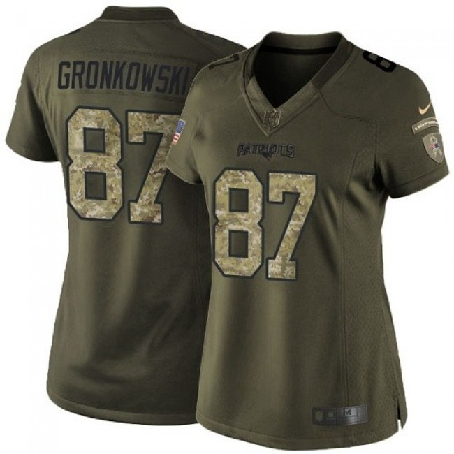 Women's Patriots #87 Rob Gronkowski Green Stitched NFL Limited 2015 Salute to Service Jersey