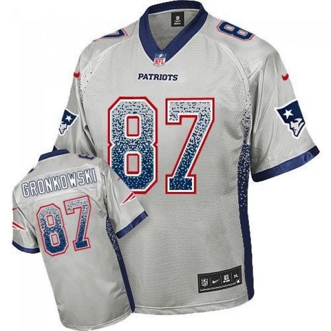 Nike Patriots #87 Rob Gronkowski Grey Men's Stitched NFL Elite Drift Fashion Jersey