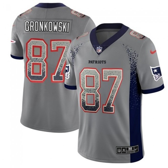 Nike Patriots #87 Rob Gronkowski Grey Men's Stitched NFL Limited Rush Drift Fashion Jersey