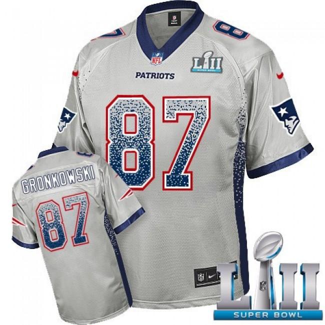 New England Patriots #87 Rob Gronkowski Grey Super Bowl LII Youth Stitched NFL Elite Drift Fashion Jersey
