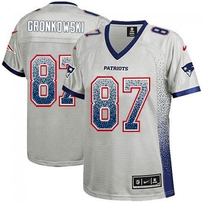 Women's Patriots #87 Rob Gronkowski Grey Stitched NFL Elite Drift Jersey