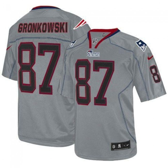 New England Patriots #87 Rob Gronkowski Lights Out Grey Youth Stitched NFL Elite Jersey