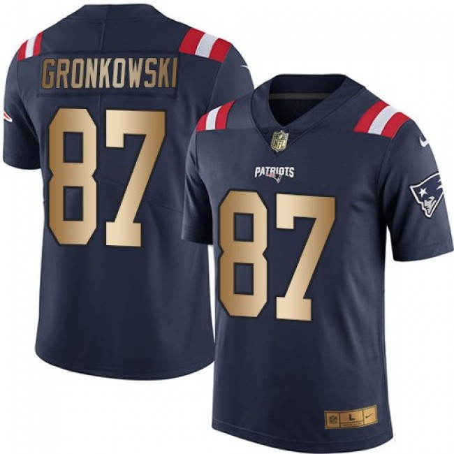 Nike Patriots #87 Rob Gronkowski Navy Blue Men's Stitched NFL Limited Gold Rush Jersey