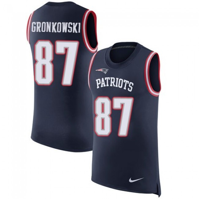 Nike Patriots #87 Rob Gronkowski Navy Blue Team Color Men's Stitched NFL Limited Rush Tank Top Jersey