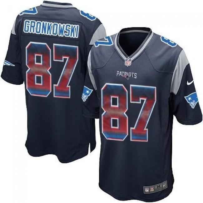 Nike Patriots #87 Rob Gronkowski Navy Blue Team Color Men's Stitched NFL Limited Strobe Jersey