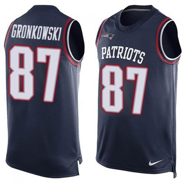 Nike Patriots #87 Rob Gronkowski Navy Blue Team Color Men's Stitched NFL Limited Tank Top Jersey